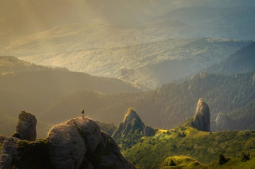 mountain, landscape, fog, sunset, daylight, valley, mist, sky, sky, summer, cliff