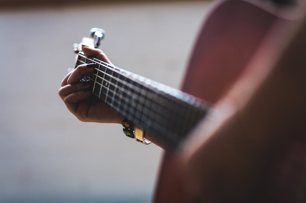 guitar, music, hand, finger, music, sound, object, musician, indoors, concert, instrument