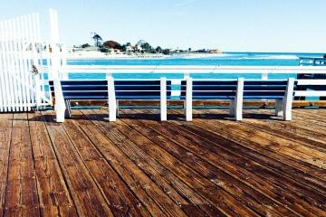 Bois, mer, eau, plage, jetée, ciel, bois, océan, bord de la mer, ciel, été, chaise, paysage