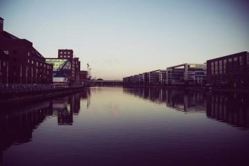 water, sunset, bridge, downtown, night, urban, reflection, dark