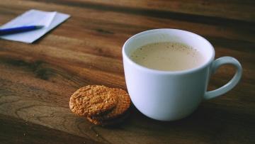 Biscuits, dessert, café, tasse, boisson, expresso, petit déjeuner, cappuccino