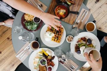 Comida, comida, cuchillo, cena, restaurante, almuerzo, mesa, banquete