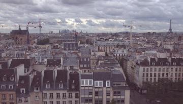 downtown, roof, sky, cloud, building, town, metropolis, architecture, city, urban