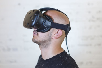 zábava, virtuální realita, portrét, člověk, portrét, technologie
