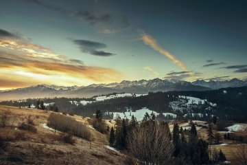 sunset, landscape, dawn, sky, mountain, water, snow, dusk, nature, sun, light, daylight, tree