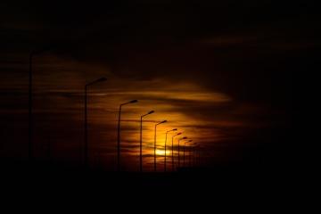 Puesta del sol, silueta, luz, anochecer, cielo, sol, oscuro, noche