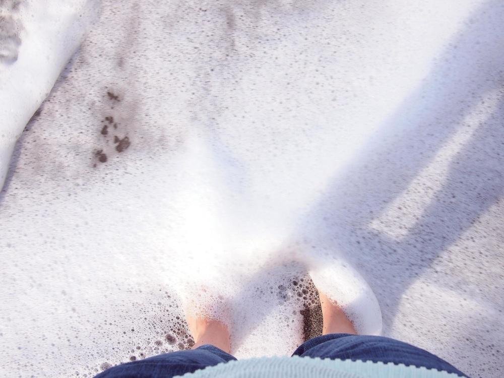 물, 비치, 거품, 다리, 발