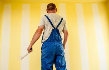 Mann, Wand, Innenraum, Menschen, Farbe, Porträt, Renovierung, Handwerker, Angestellter