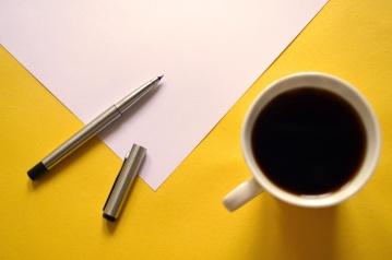 šalicu za kavu, papir, kup, espresso, piće, olovka