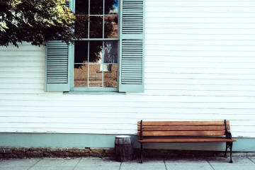 house, bench, window, wood, exterior