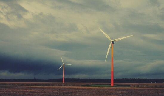 Moderne, technologie, vent, puissance, électricité, turbine, invention, ciel, générateur