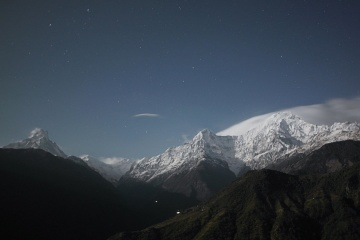 snow, mountain, landscape, sky, winter, glacier, mountain peak, night
