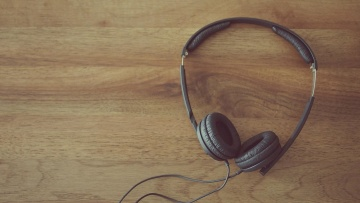 headphones, music, wood, retro, furniture, indoors, technology, equipment