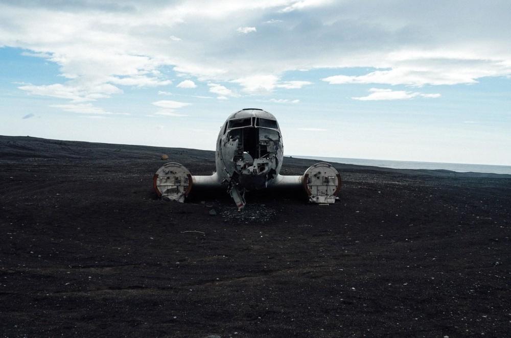 Landschaft, flugzeug, flugzeug, alt, fahrzeug, verlassen, müll, müll,