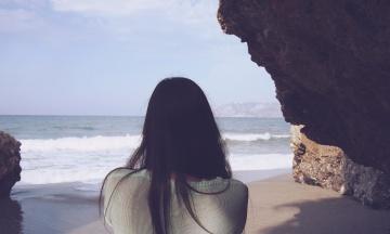 pretty girl, woman, hair, sea, beach, seashore, ocean, water, shore