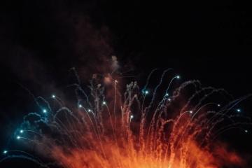 Llama, fuegos artificiales, explosión, festival, humo, energía
