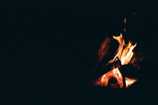 flame, smoke, dark, bonfire, burn, heat, danger