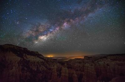 Astronomía, noche, paisaje, galaxia, cielo, exploración, montaña
