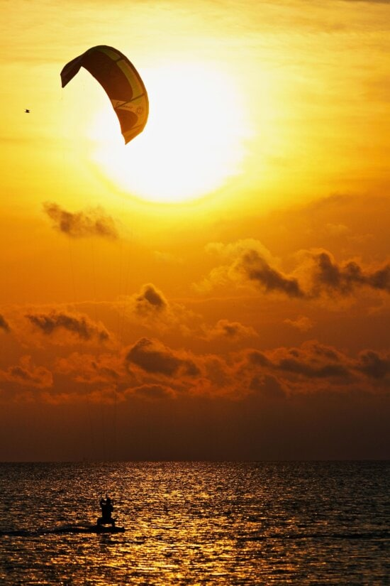 parachute, sunset, dawn, sun, dusk, water, sea, sunrise