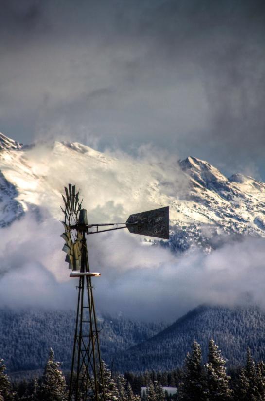 바람 터빈, 바람, 바람 터빈, 눈, 산, 하늘, 겨울, 풍경, 자연