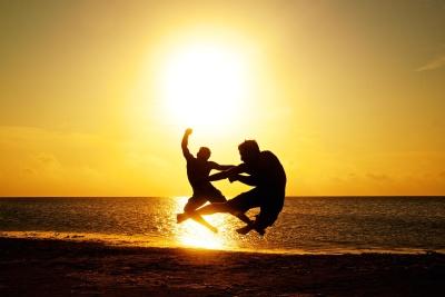 puesta de sol, playa, sol, mar, océano, agua, silueta, atardecer, sol