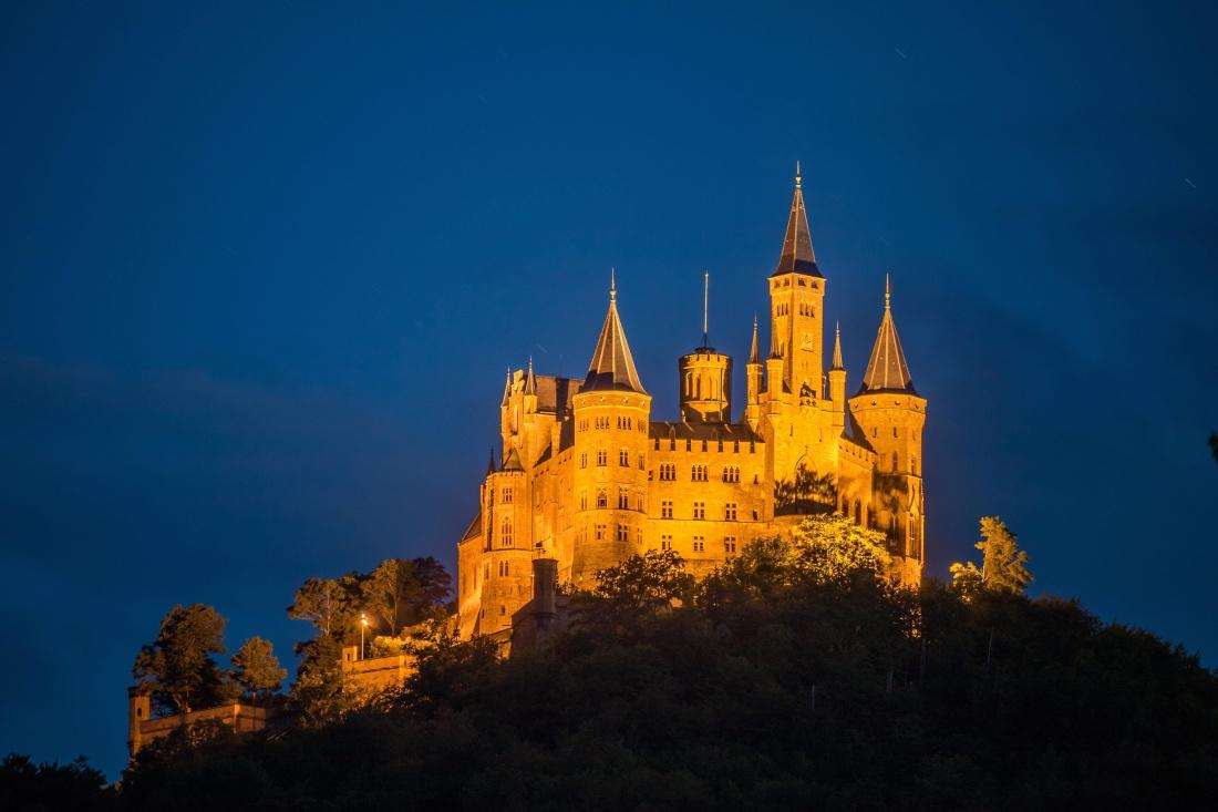 architettura, Castello, Palazzo, Torre, Chiesa, notte, collina