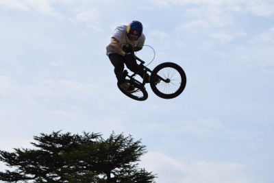 mountain bike, sky, jump, wheel, bicycle, sport, vehicle