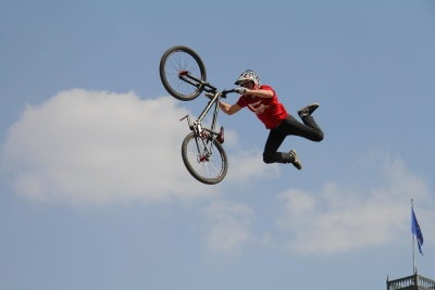 action, mountain bike, sky, jump, competition, wheel, people, sport, skill