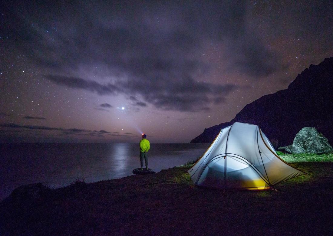 camping, sunset, tent, landscape, dawn, shelter, night, person, sky, light, dusk