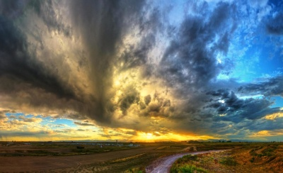 sunset, storm, sky, landscape, nature, asphalt, road