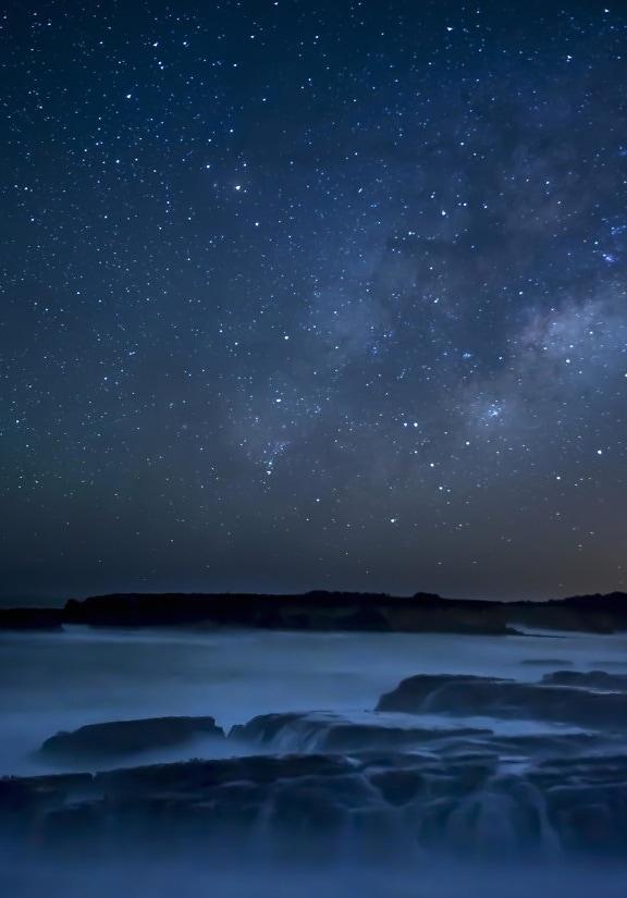 Moonlight, astronomi, sky, ocean, landskabet, havet, vand, horisonten, nat