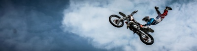 sky, vehicle, motorcycle, sport, jump, motocross, cloud