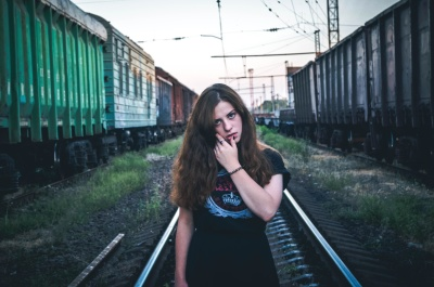 railway, locomotive, train, girl, woman, urban, train station