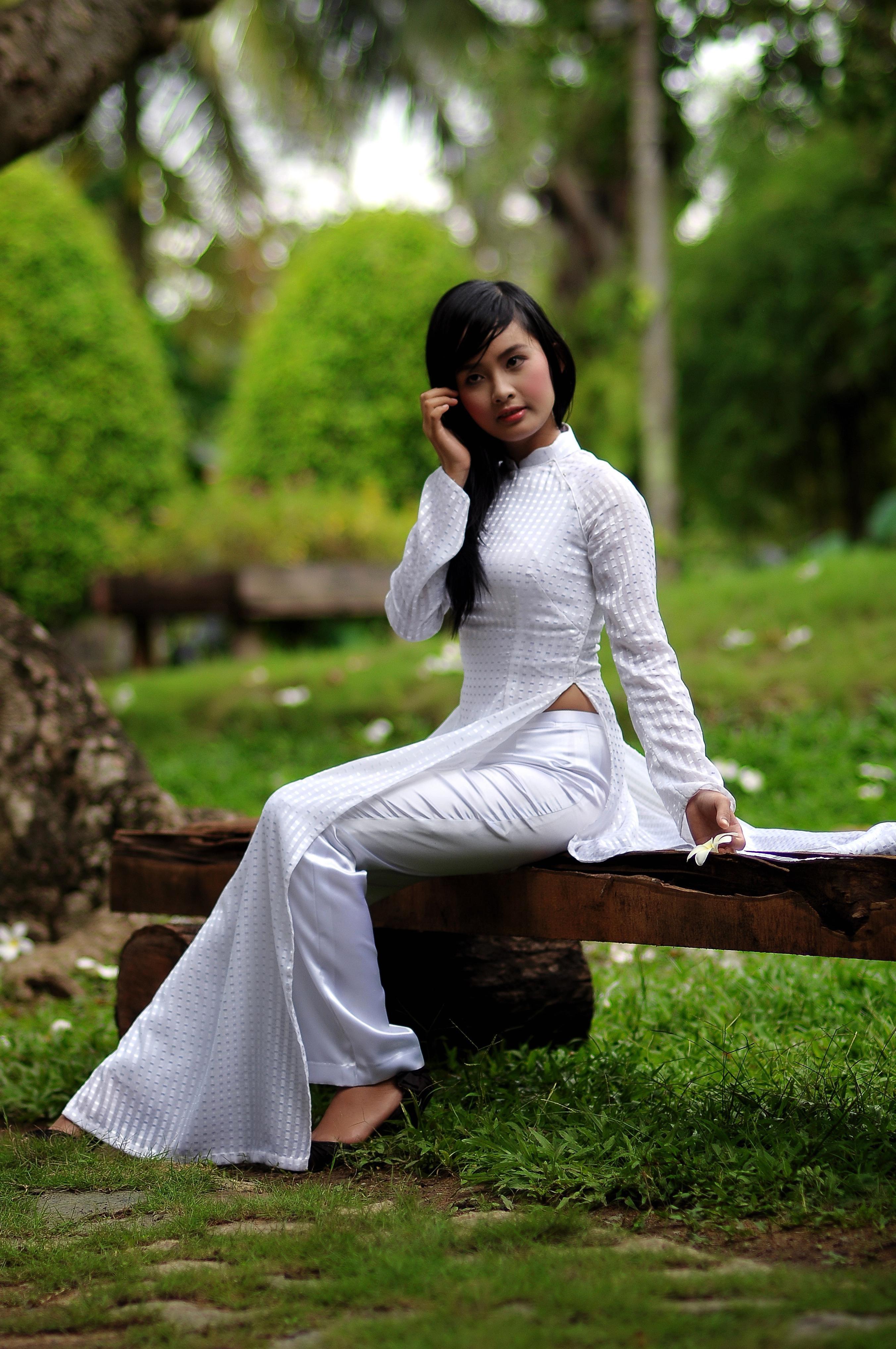 Free picture: nature, woman, grass, pretty girl, Asia