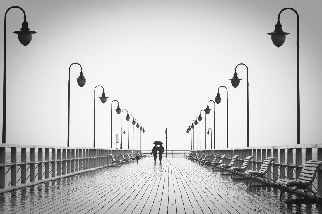 street, architecture, bridge, city, silhouette, lamp, urban, sky, rain, people
