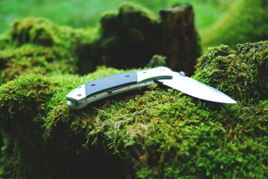 wood, knife, tool, moss, lichen, stainless steel, nature