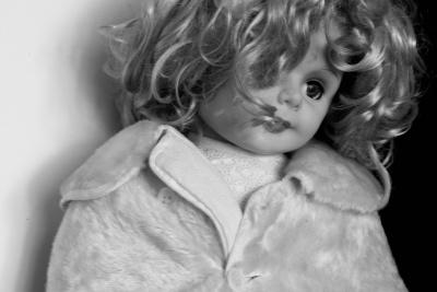 Puppe, Plastik, Spielzeug, Kind, Porträt, Baby, Mädchen, Monochrom