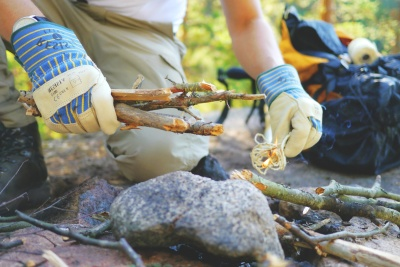 nature, person, camping, campsite, summer, food, gloves