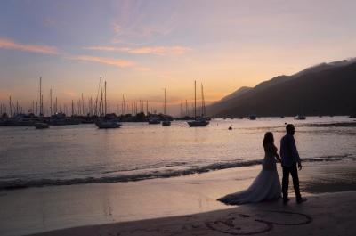coucher du soleil, l'eau, aube, plage, mer, crépuscule, personnes