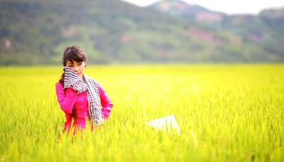 field, nature, grass, girl, meadow, landscape, rural, sky, grassland