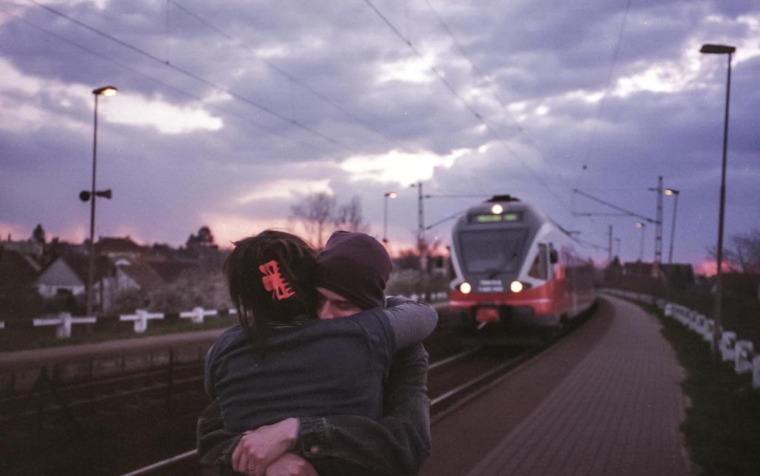 Road, pojazdu, street, dworca kolejowego, drogowego, chłopak, Dziewczyna
