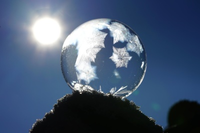 Sun, sky, sphere, winter, cold, frost, snowflake