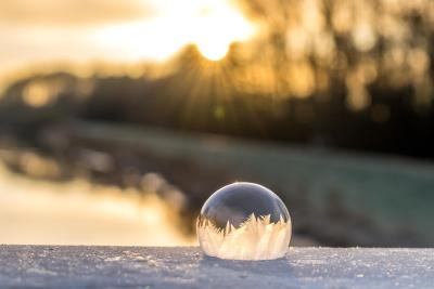 sunset, sun, dusk, sphere, sky, snowflake, frost, crystal, landscape