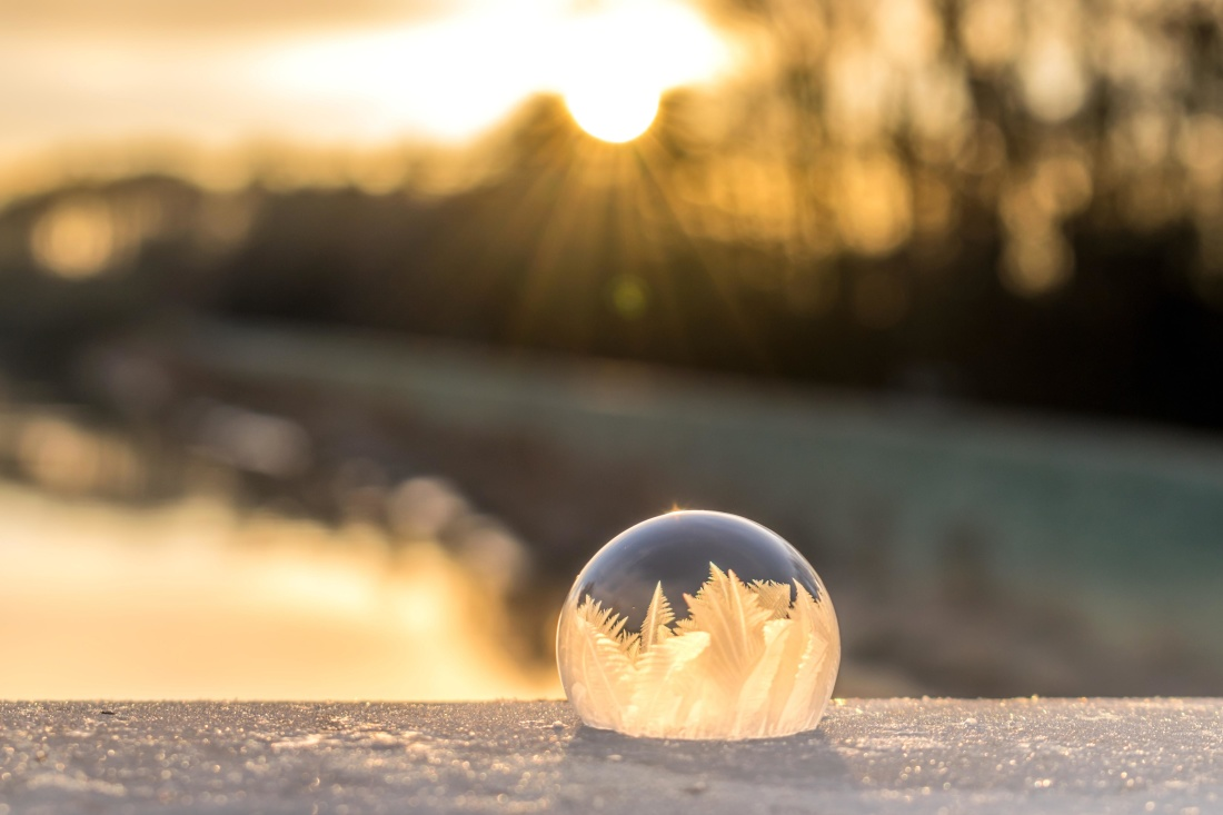 sunset, sun, sphere, crystal, landscape, sky, snowflake, frost