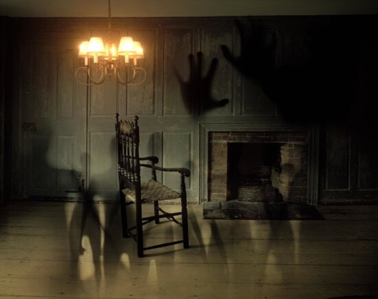 ghost, dark, room, interior, lamp, chair, photomontage