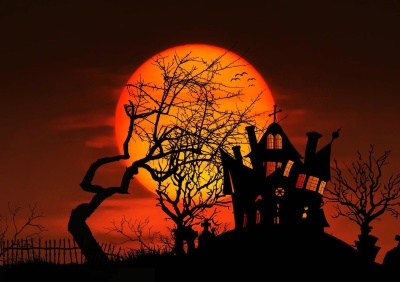 silhouette, sunset, Halloween, moon, photomontage, dawn, dusk