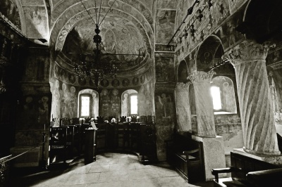 indoors, church, cathedral, Byzantine, orthodox, architecture, monochrome, shadow