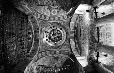 arhitekturom, bizantske, pravoslavne, starinski, crno-bijeli, dizajn, crkva, stari, religija
