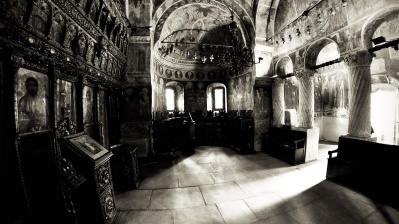 indoors, Byzantine, orthodox, architecture, home, arch, church, people, religion, monochrome