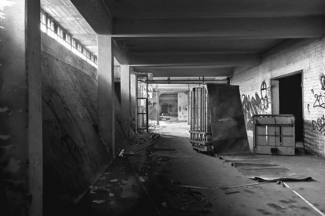 Monokrom, interiör, monokrom, gatan, övergivna